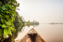 Canoe ride in Africa. Canoe ride around tropical island in Ghana, Africa Royalty Free Stock Photography