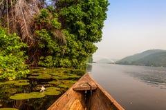 Canoe ride in Africa. Canoe ride around tropical island in Ghana, Africa Stock Photos
