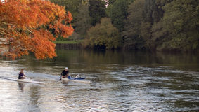 Canoe in river stock photos