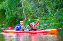 Canoe river. Father and daughter happy canoe calm river Stock Photos