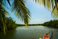 A canoe on the River Gambia, Africa stock photography