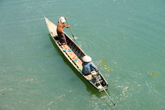 Canoe on river Mekong at Don Khong island Royalty Free Stock Photo