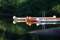 Canoe on the river. Canoe on river in Quebec Stock Photo