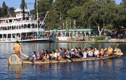 Canoe and Riverboat in Disneyland Royalty Free Stock Image