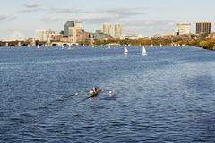 Canoe rowing in Charles River Boston stock image