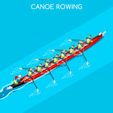 Canoe Rowing Coxswain Eight Summer Games Icon Set.Olympics 3D Isometric Canoeist Paddler.Rowing Canoe Coxswain Eight Sporting Stock Image