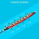 Canoe Rowing Coxswain Eight Summer Games Icon Set.Olympics 3D Isometric Canoeist Paddler.Rowing Canoe Coxswain Eight Sporting. Competition Race.Sport Stock Image