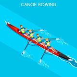 Canoe Rowing Without Coxswain Four Summer Games Icon Set.Olympics 3D Isometric Canoeist Paddler.Rowing Canoe Sporting Competition Stock Image