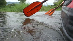 Canoe rowing in the river stock video