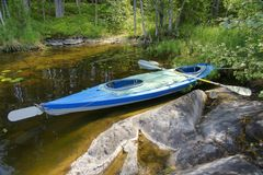 Canoe on shore of lake in Wilderness Royalty Free Stock Image