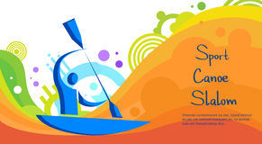 Canoe Slalom Athlete Sport Competition Colorful Banner. Canoe Slalom Athlete Sport Game Competition Flat Vector Illustration Royalty Free Stock Photography