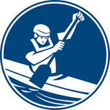 Canoe Slalom Circle Icon. Icon illustration of a man in a canoe kayak with paddle canoeing slaloming viewed from front set inside circle on isolated background Stock Photos