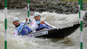 Canoe slalom ICF European Championship - Ladislav Skantar and Peter Skantar ( Slovakia ) Stock Photo
