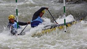 Canoe slalom ICF European Championship - Ondrej Karlovsky and Jakub Jane ( Czech republic ) Royalty Free Stock Photo