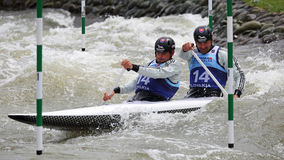Canoe slalom ICF European Championship - Peter Hochschorner and Pavol Hochschorner ( Slovakia ) Royalty Free Stock Image