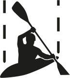 Canoe slalom silhouette Stock Image