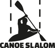 Canoe slalom silhouette with word Royalty Free Stock Photos