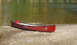 Canoe slipped on Danube bank. Nearby Weltenburg Abbey Royalty Free Stock Image