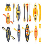 Canoe Sport Equipment Set. Flat Simplified Cartoon Style Bright Color Vector Illustration On White Background Stock Photos