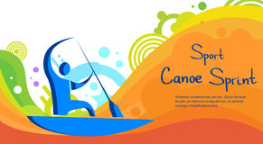 Canoe Sprint Athlete Sport Competition Colorful Banner. Flat Vector Illustration Royalty Free Stock Photo