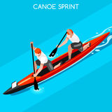 Canoe Sprint Double Summer Games Icon Set.3D Isometric. Canoeist Paddler.Olympics Sprint Canoe Sporting Competition Race.Sport Infographic Canoe Vector Royalty Free Stock Image