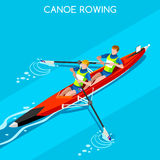Canoe Sprint Rowing Coxless Pair Summer Games Icon Set.3D Isometric Canoeist Paddler.Rowing Canoe Coxless Pair Sporting Competitio Royalty Free Stock Image