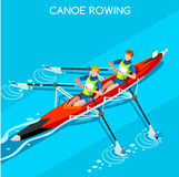 Olympics Canoe Sprint Rowing Summer Games Icon Set.3D Isometric Canoeist Paddler.Sprint Rowing Canoe Sporting Competition Race Royalty Free Stock Images