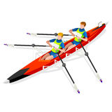 Canoe Sprint Rowing Summer Games Icon Set.Olympics 3D Isometric Canoeist Paddler.Sprint Rowing Canoe Sporting Competition Race. Sport Infographic Canoe Rowing Royalty Free Stock Photography
