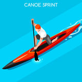 Canoe Sprint Summer Games Icon Set.3D Isometric Canoeist Paddler.Sprint Canoe Sporting Competition Race. Royalty Free Stock Photos