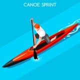 Canoe Sprint Summer Games Icon Set.3D Isometric Canoeist Paddler.Sprint Canoe Sporting Competition Race. Sport Infographic Canoe Vector Illustration Royalty Free Stock Photos