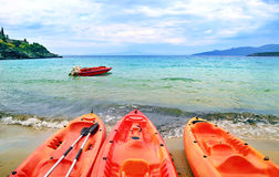 Canoe at Stoupa beach in Peloponnese Greece Stock Photography