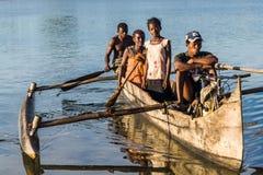 Canoe at sunrise Stock Images
