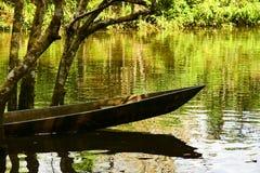 Canoe sur l'eau en parc de Yasuni, Equateur image stock