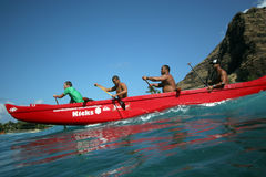 Canoe surf. Ing during Buffalo's Big Board Classic '08 at Makaha Beach, Hawaii Royalty Free Stock Images