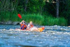 Canoe swift river Royalty Free Stock Photography