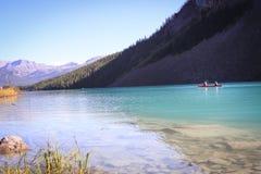 Canoe trip. Mountains reflected in Lake Louise, Alberta, Canada Stock Image