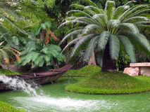 Canoe in the tropical garden Stock Photos