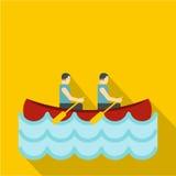 Canoe with two athletes icon, flat style. Canoe with two athletes icon. Flat illustration of canoe with two athletes vector icon for web Royalty Free Stock Photos