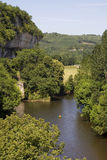 Canoe on the Vezere. River in the Dordogne, France, by la Roque St Christophe Royalty Free Stock Photos