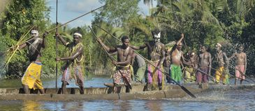 Canoe war ceremony of Asmat Royalty Free Stock Photography