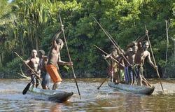 Canoe war ceremony of Asmat Stock Photos