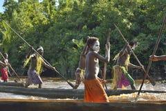 Canoe war ceremony of Asmat Stock Photo