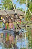 Canoe war ceremony of Asmat Stock Image