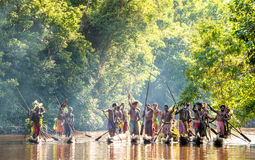 Canoe war ceremony of Asmat Royalty Free Stock Images