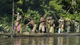 Canoe war ceremony of Asmat Royalty Free Stock Photo