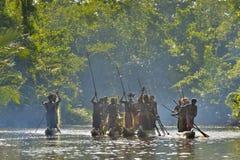 Canoe war ceremony of Asmat Royalty Free Stock Photos