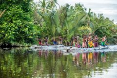 Canoe war ceremony of Asmat Royalty Free Stock Image