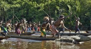 Canoe war ceremony of Asmat people Stock Images