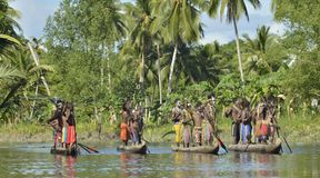 Canoe war ceremony of Asmat people Royalty Free Stock Photos