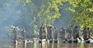 Canoe war ceremony of Asmat people Stock Photo